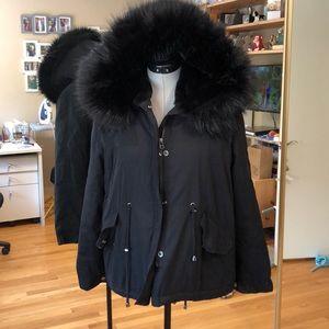 Zara Warm Jacket W/Faux Fur Hood Lining and Trim M